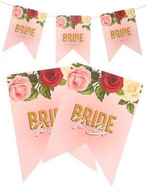 שלט bride to be בעיצוב פרחים גולד רוז