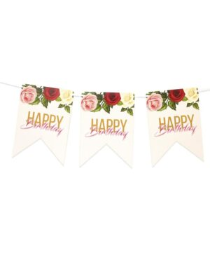 שרשרת יום הולדת שמח בעיצוב פרחים על רקע לבן