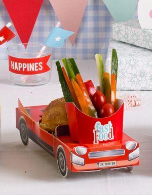 מכונית אדומה | מגש מזון | ליום הולדת