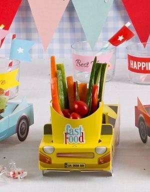 מכונית צהובה | מגש מזון | ליום הולדת
