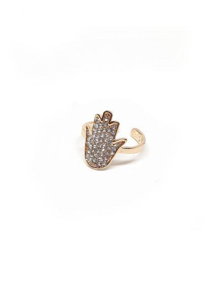 טבעת חמסה בציפוי זהב לזרת