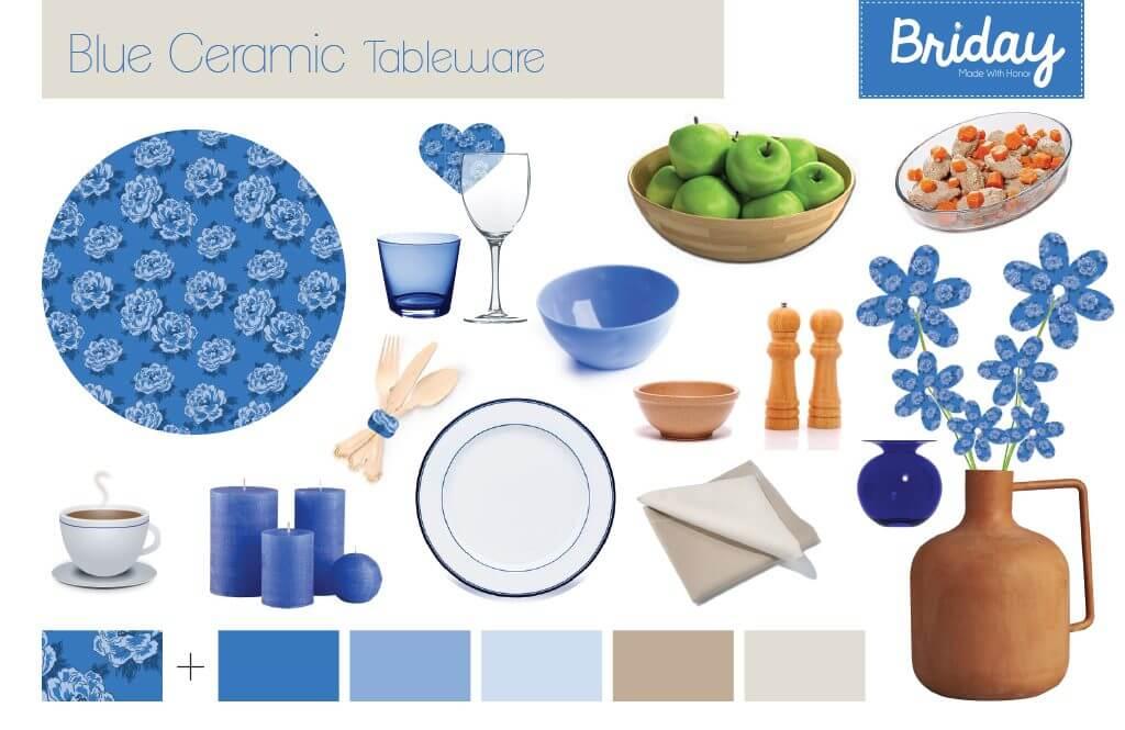 לוח השראה לעיצוב שולחן בגוונים של כחול וקרם