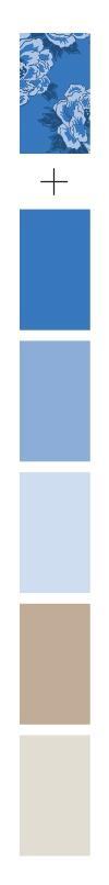 פלטת צבעים כחול ואדמה לעיצוב שולחן