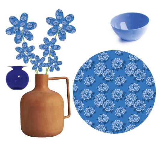 לוח השראה לאירוח בגוונים של כחול וצבעי אדמה