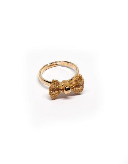 טבעת בציפוי זהב בעיצוב פפיון דמוי בד