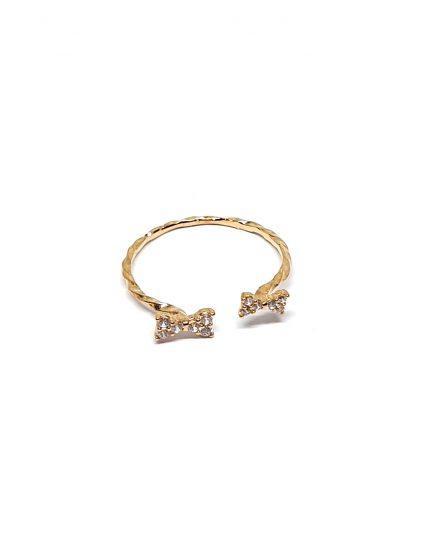 טבעת זהב פפיון אבנים