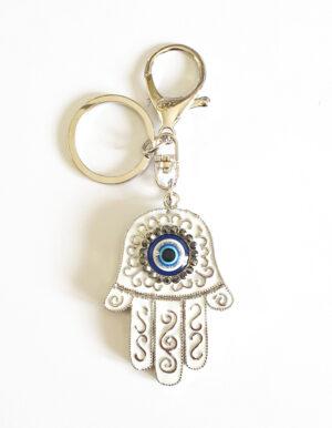 מחזיק מפתחות | חמסה ועין כחולה | רקע לבן