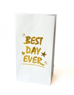שקיות נייר למתנה או הפתעה עם הטבעת זהב Best day ever