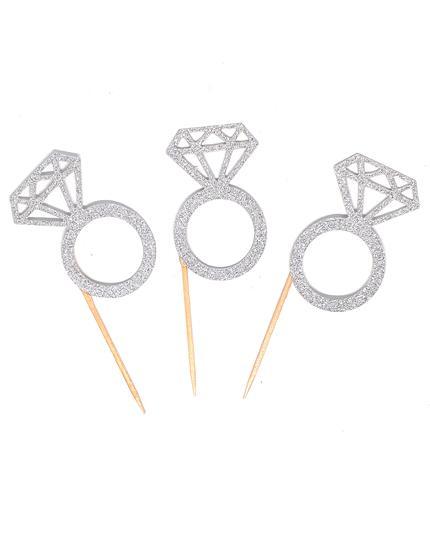 טופרים טבעת יהלום בצבע כסף גליטר