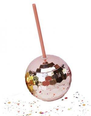 כוס כדור דיסקו לדרינקים בצבע רוז גולד