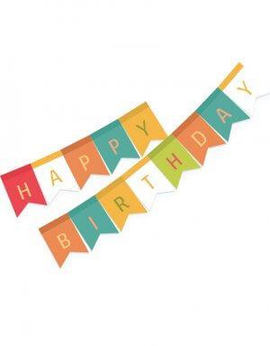 שרשרת יום הולדת | דגלים למסיבה צבעוני