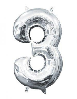 יום הולדת שלוש | בלון מטאלי בצבע כסף לניפוח עצמי באוויר