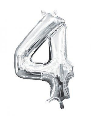 יום הולדת 4 | בלון מטאלי בצבע כסף לניפוח עצמי באוויר