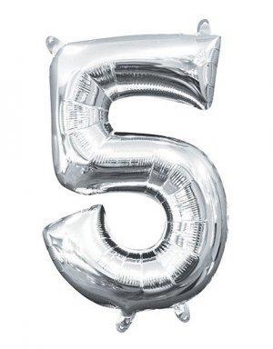 יום הולדת 5 | בלון מטאלי בצבע כסף לניפוח עצמי באוויר