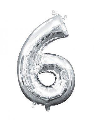 יום הולדת 6 | בלון מטאלי בצבע כסף לניפוח עצמי באוויר