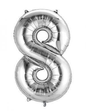 יום הולדת 8 | בלון מטאלי בצבע כסף לניפוח עצמי באוויר