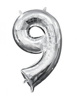 יום הולדת 9 | בלון מטאלי בצבע כסף לניפוח עצמי באוויר