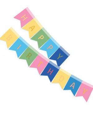 שרשרת יום הולדת | דגלים למסיבה בצבעי חד קרן