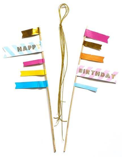 טופרים לעוגת יום הולדת | 5 באנרים על שיפוד | 2 יחידות