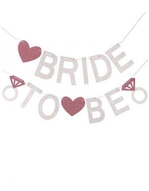 שרשרת Bride to be בצבעי כסף וגולד רוז עם אפקט גליטר