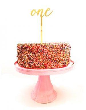 טופר לעוגה ליום הולדת שנה בגוון זהב מראה