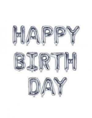 סט בלוני כסף מטאליים עם המשפט HAPPY BIRTHDAY