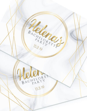 briday מיתוג למסיבת רווקות פלייסמנטים בגוון זהב