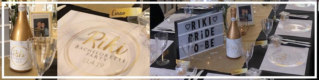 Briday עיצוב שולחן לערב מקווה , מסיבת רווקות, ימי הולדת וכו׳ בצבעי זהב לבן