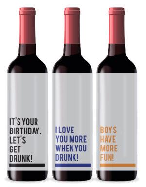 Briday מדבקות מסר לבקבוקי יין