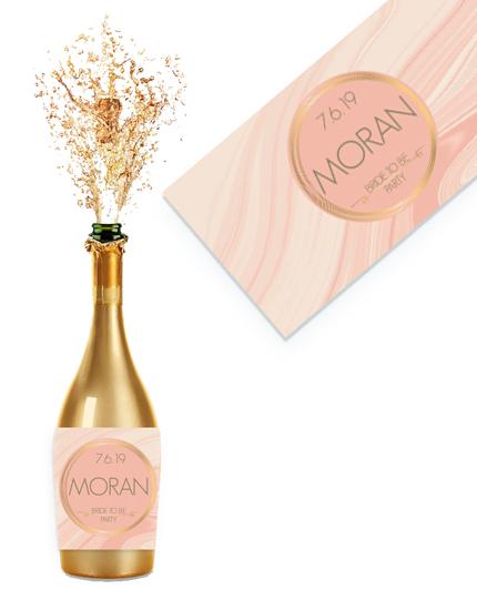 מיתוג למסיבת רווקות רוז גולד מדבקות לבקבוקי שמפניה