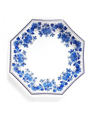צלחות בסגנון יווני בצבעי כחול עם פרחים