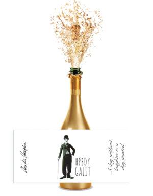 מדבקות לבקבוקים בעיצוב צ'רלי צ׳פלין