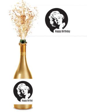 מדבקות לבקבוקים בעיצוב מרילין מונרו
