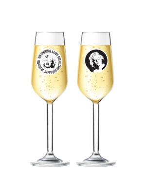 מדבקות לכוסות שמפניה בעיצוב מרילין מונרו