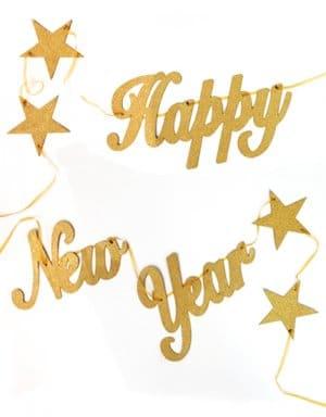 שרשרת | HAPPY NEW YEAR | זהב גליטר