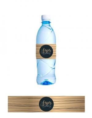 מיתוג שחור זהב לבקבוקי מים