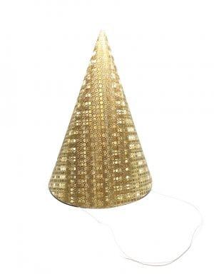 כובע יום הולדת |זהב גליטר | 6 יחידות