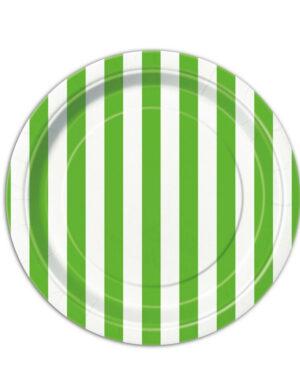 צלחות קרטון פסים ירוק