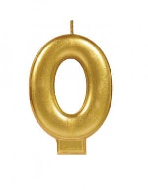 נר זהב מטאלי ספרה 0