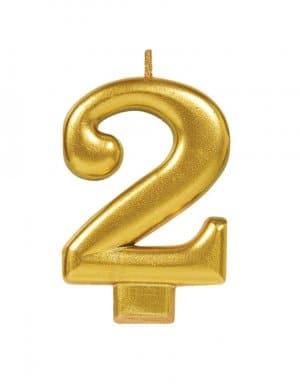 נר ליום הולדת זהב מטאלי ספרה 2
