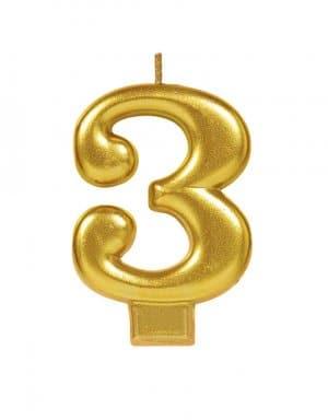 נר ליום הולדת זהב מטאלי ספרה 3