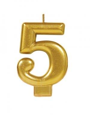 נר ליום הולדת זהב מטאלי ספרה 5