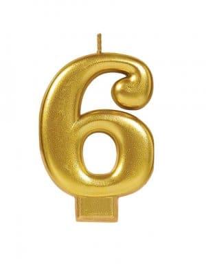 נר ליום הולדת זהב מטאלי ספרה 6