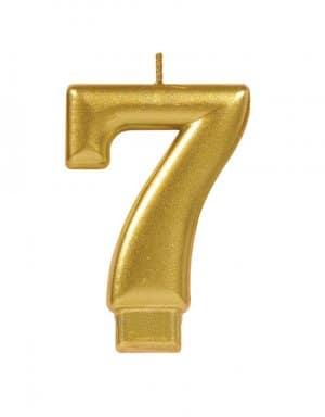 נר ליום הולדת זהב מטאלי ספרה 7