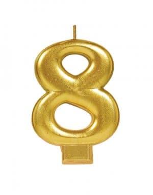 נר זהב מטאלי ספרה 8