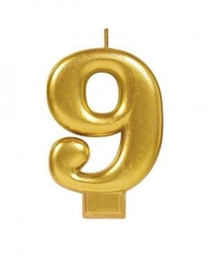 נר זהב מטאלי ספרה 9
