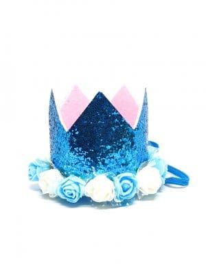 כתר יום הולדת לבנים גליטר כחול