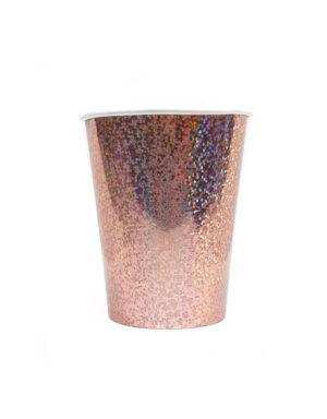 כוסות רוז גולד נצנצים