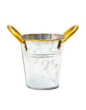 שמפנייר מתכת כסף עם ידיות זהב