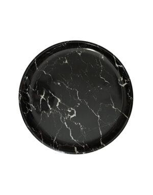 מגש פלסטיק שיש שחור קוטר 28 ס״מ
